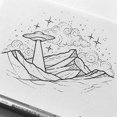 UFO over Mt. Warning. #ufo #aliens #mtwarning #illustration #fineliner #blackink #iblackwork #blackwork #flash #flashaddicted #blackworknow #tattoo #tattooist #tattooideas #tattoodesign #design #etching #canberra #australia