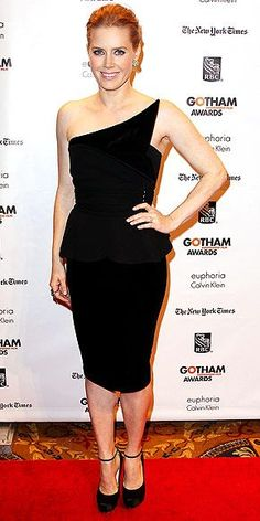 AMY ADAMS  Representing at the IFP Gotham Independent Film Awards in New York City, Amy strikes a pose in a sleek asymmetrical black Giorgio Armani peplum dress, Lorraine Schwartz gems and ankle-strap Brian Atwood heels.