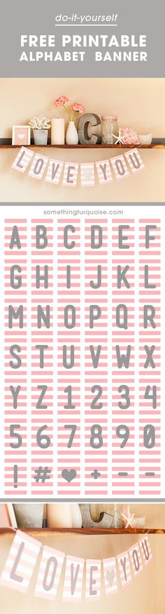 FREE Pink + Gray Printable Alphabet and Number Banner! Adorable FREE printable alphabet banner, you can make it say anything you want! Need great hints concerning arts and crafts? Head to this fantastic site! Bunting Template, Diy Inspiration, Shower Banners, Printable Letters, Valentine's Day, Diy For Girls, Free Printables, Free Baby Shower Printables, Printable Party