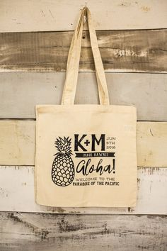 Welcome Totes Hawaiian Destination Tote Bags Pineapple Bachelorette Tote Bags Canvas Bags Wedding Favor Totes Hawaiian Tote Bags 1324 by SipHipHooray