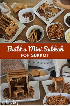 Build A Mini Sukkah for Sukkot - Build a mini sukkah for Sukkot using graham crackers, recipe for royal icing, and natural decorations. Easy, affordable family craft. | ToriAvey.com #sukkot #autumn #homemadegifts #homemade #giftideas #starofdavid #jewishholidays #harvestholidays #sukkah #kidcraft #kids #jewishlearning #craft #jewishcraft Sukkot Recipes, Jewish Recipes, Holiday Recipes, Holiday Foods, Holiday Crafts, Family Crafts, Crafts For Kids, Feast Of Tabernacles, Jewish Crafts