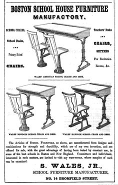 1849 ad: Boston School House Furniture Manufactory