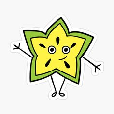 'Cute Star Fruit Character Sticker' Sticker by CarmelaGiordano Cute Stars, Activity Sheets, Transparent Stickers, Glossier Stickers, Sell Your Art, Sticker Design, Preschool, My Arts, Activities