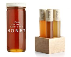 bee raw honey label designs. Jar and test tube packaging design