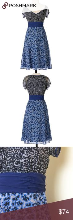 Airy chiffon Viola dress Gorgeous silk chiffon dress with black floral pattern up top and blue floral pattern below a ruched waistband. Side zip. Fully lined. Excellent condition. Anthropologie Dresses