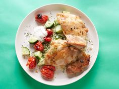 Using boneless, skinless chicken thighs instead of breasts is a smart way to make sure the meat stays moist and flavorful. And we love the way grape tomatoes soften under the heat of the broiler, adding more juicy goodness to the chicken. Lots of lemon, plus dill and oregano, give the dish a Greek feel.