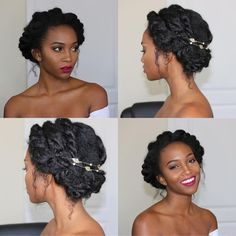 Holiday Hairstyles for Naturals, Natural Hair, Hair Style, Black Girl Make Up, C. - New Hair Styles Natural Hair Wedding, Natural Hair Updo, Natural Curls, Natural Hair Care, Natural Hair Styles, Natural Makeup, Natural Beauty, Black Hair Hairstyles, Easy Updo Hairstyles