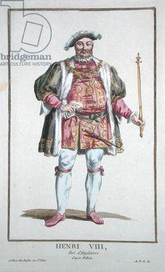 Henry VIII (1491-1547) King of England (1509-47) from 'Receuil des Estampes, representant les Rangs et les Dignites, suivant le Costume de toutes les Nations existantes', published 1780 (hand-coloured engraving), Duflos, Pierre (1742-1816) / Private Collection / The Stapleton Collection / Bridgeman Images