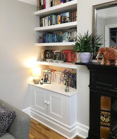 In the absence of children, this alcove shelving unit is my pride and joy 😍😍😍 or ? Alcove Ideas Living Room, Bedroom Alcove, Living Room Shelves, Living Room With Fireplace, New Living Room, Living Room Designs, Living Room Units, Alcove Storage, Alcove Shelving