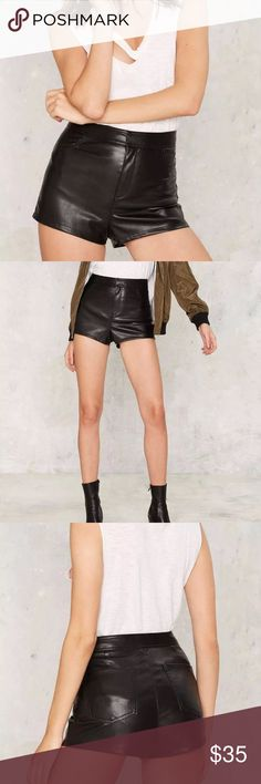🆕Nasty Gal Black Faux Leather Shorts New without tags: A brand-new, unused,  and unworn item. The original tags may not be attached. **nasty gal item refer to site for sizing guide**  NO Trades   NO Holds (whoever first come to buy unless note otherwise) Nasty Gal Shorts