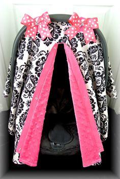 MINKY carseat canopy car seat cover black hot by JaydenandOlivia