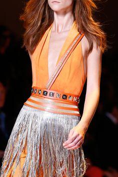 versace orange plunge halter dresss with studded belt & silver fringe ~ spring 2013.