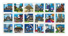 Nice Collection of Stamps From All Around the World  A few months ago we introduced you the superb series of stamps created by the graphic designer Mike Karolos as a tribute to Greece. The artist is now back with a project titled Around the world which takes us in several destinations all over the world with the same specific style: Sydney Rome Paris Moscow Berlin New York and even Easter Island.                     #xemtvhay