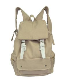 Beige Canvas Backpack with Contrast Pin Buckle Belt Detail