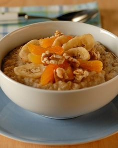 Martha Stewart's take on Steel Cut Oats- topped with bananas, sliced apricots and walnuts