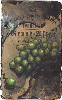 """Trauben im Dunkel"" Federzeichnung, Farbstift, Aquarell Wvz. 5051 Format: 355 x 320 mm Dezember 2016"