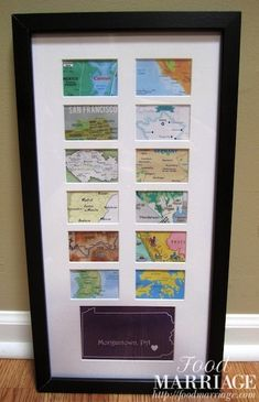 Map Collage Frame - Wedding / Bridal Shower Gift Idea - All the places the couple has traveled together.  Full Post on the Blog @BA Haggerty / FoodMarriage.com