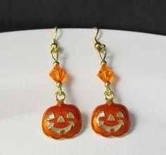 Pumpkin Earrings Halloween Earrings JackOLantern by BeadBrilliant, $24.00