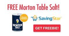 SavingStar Friday Freebie: Morton Plain or Iodized Table Salt