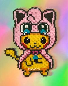 Hama Beads Pokemon, Diy Perler Beads, Perler Bead Art, Hamma Beads 3d, Pearler Beads, Fuse Beads, Pikachu, Pokemon Cross Stitch, Pixel Art Grid