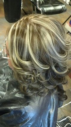 Thin highlights to help blend in the wisdom grey hair :)