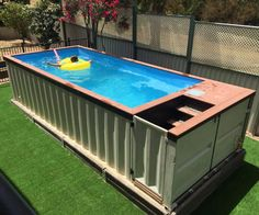 An old shipping container can be a great pool and it can be just the right size for your pets or yourself. It just takes a bit of imagination and effort.