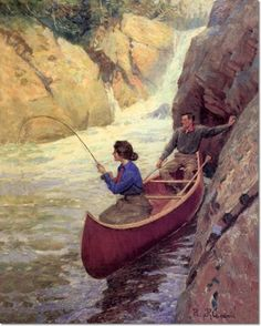 Philip Russell Goodwin - Philip R. Goodwin - Fishing at the Rapids Painting