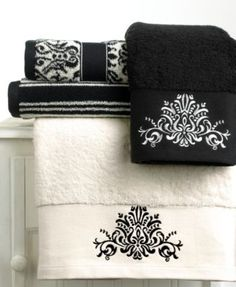 "Bianca ""Black and White"" Hand Towel, 16"" x 28"""