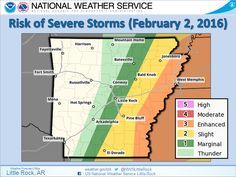 says For Little Rock & Central Arkansas Thru Monday: Cloudy With Showers. Lo 46. Hi 63. Monday Night: Scattered Showers & Thunderstorms After Midnight. 1 Or 2 Strong. Lo 55. Tuesday: Thunderstorms Likely Before Noon. A Few Strong To Severe. Hi 68. Tuesday Night: Partly Cloudy & Cold. Lo 35. Wednesday Thru Saturday: Sunny Days & Clear To Partly Cloudy Nights. Hi's Thru Thursday Near 46 & Lo's Near 28. Hi's Friday Thru Saturday Near 53 & Lo Near 34. Updates: http://www.weather4ar.org…