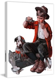 Marmont Hill Sick Puppy on Canvas Norman Rockwell Painting Print on Canvas