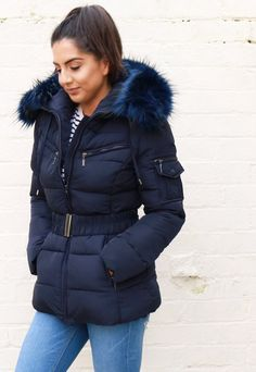Harper Quilted Longline Hooded Puffer Coat with Faux Fur Trim & Belt in Navy Blue Winter Parka, Winter Coats, Puffer Coat With Fur, Best Winter Jackets, Bare Essentials, Puffer Jackets, Long A Line, Fur Trim, Faux Fur