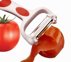 QHP Julienne Peeler Fruit and Vegetable Peel Remover Multi-function Red White Kitchen Accessory Stainless Steel Sharp Blade Classy Handle Light and Portable Odorless Eco-friendly Dishwasher Safe Co Design, News Design, Red And White Kitchen, Fruit And Vegetable Carving, Fruits And Vegetables, Food Grade, Canning, Dishwasher, Blade