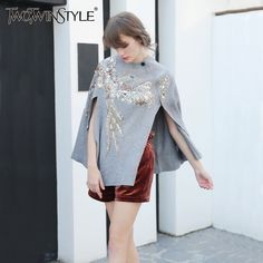 TWOTWINSTYLE Sequins Pullover Coat Female Sweater for Women' Winter Sweaters Poncho Knitting Tops Cloak Jumper Autumn Clothing #TWOTWINSTYLE #sweaters #women_clothing #stylish_sweater #style #fashion