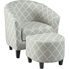 Showcasing a classic quatrefoil motif, this stylish chair and ottoman set brings sophisticated style to any space. Its neutral hue is perfect for tempering a...