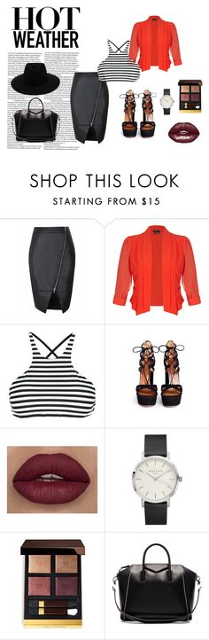 """10jul"" by naomi-yves ❤ liked on Polyvore featuring City Chic, Vitamin A, Aquazzura, Tom Ford, Givenchy, rag & bone and stripedshirt"
