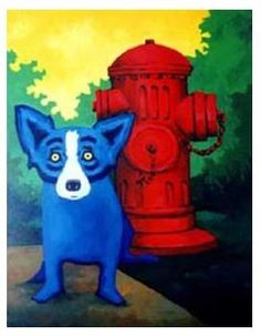 A picture of a Blue Dog painting by George Rodrigue.