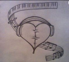 broken heart headphones drawings music tattoos by on DeviantArt Sad Drawings, Music Drawings, Art Drawings Sketches Simple, Pencil Art Drawings, Awesome Drawings, Heart Break Drawings, Drawings Of Hearts, Drawings On Lined Paper, Broken Heart Drawings