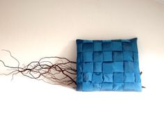 Braided Cushion Cover  Decorative Pillow  blue by lalunadianna