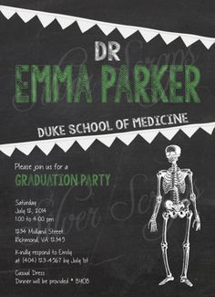 Chalkboard Anatomy Medical School Graduation Invitation - Black White Custom Color Heart Skeleton Ribcage Science Doctor Dr - Printable DIY