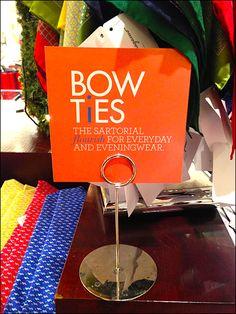 Bow Tie As Sartorial Flourish Table Stand Sign Kerchief, Flourish, Close Up, Bows, Display, Pocket Squares, Bow Ties, Carousel, Menswear