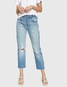 High Rise Relaxed Zip Crop in Indigo