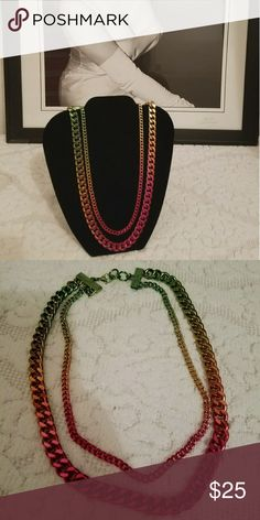 Color Layered Chain Necklace Amazing double layered necklace featuring rainbow gradation color. Lobster clasp closure Jewelry Necklaces