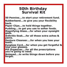 funny list of items in 50th birthday survival kit