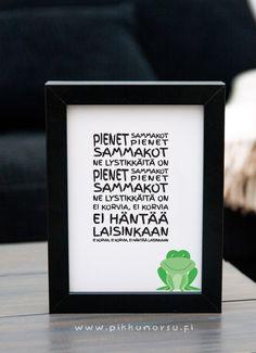 Pienet sammakot. Kortti sammakon kuvalla tai ilman. Postcard 4,20 €, poster from 20,90 €.