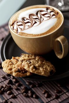 Wash down oatmeal cookies with a delectable cappuccino...delicious.