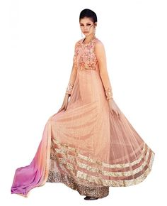 Peach Colour Net with Sequin Embroidred Multi Layer Patti at hem Gown Style Suit. This Beautiful Attire is elegantly crafted by Embroidery, Sequins, Thread and Stone Handwork. This Party Wear Suit comes with Chiffon Dupatta, Net Sleeves, Rayon Inner and Rayon Bottom. (Instruction: - slight variation in colour is possible).