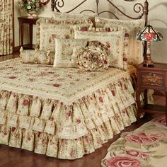 Excellent Bedrooms with Vintage touch Vintage Rose Floral Ruffled Grande Bedspread