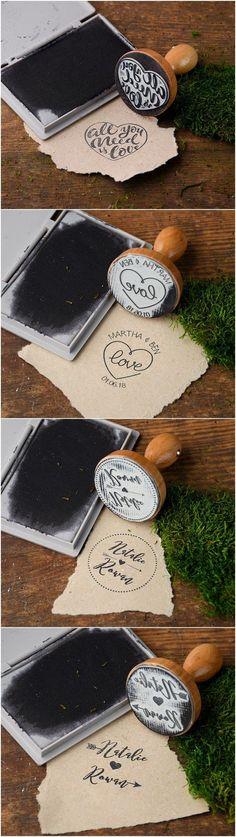 Rustic custom wedding wooden stamps