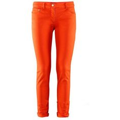 Orange Skinny Jeans ($28) ❤ liked on Polyvore featuring jeans, pants, bottoms, orange, sheinside, red skinny leg jeans, orange skinny jeans, print jeans, cut skinny jeans and skinny leg jeans