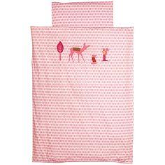 Bettwäsche rosa Reh 135x200cm und 80x80cm  - Material: Baumwolle  - Maße: 135 x 200 cm und 80 x 80 cm  - Reh Abbildung aus Filz  - Maschinenwäsche: bei 40 °C